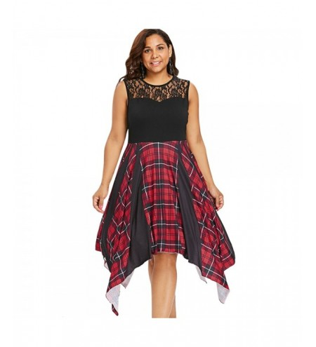 Plus Size Plaid Panel Asymmetric Dress