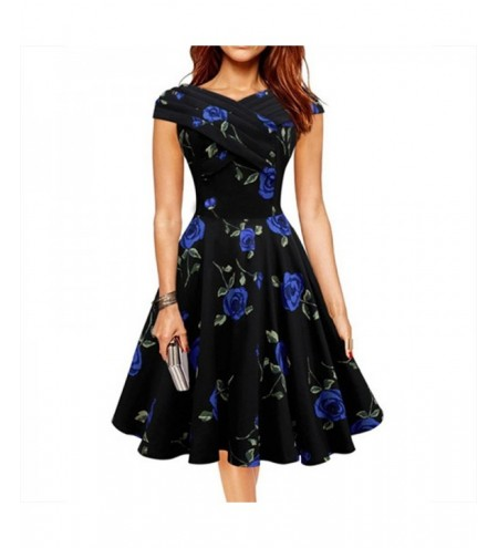 Spring and Summer Women'S New One-Neck Collar Slim Print Large Swing Dress