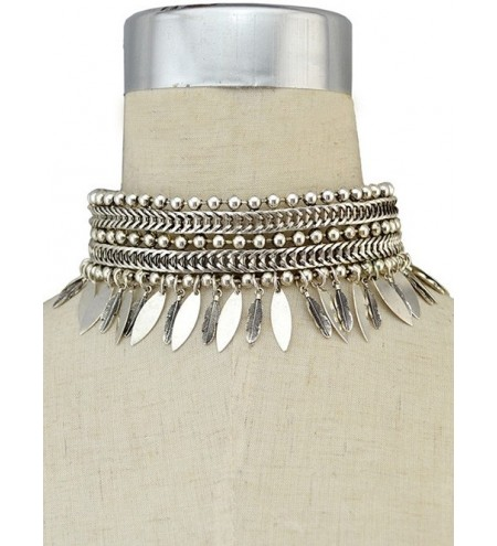 Punk Leaf Fringed Metal Choker Necklace