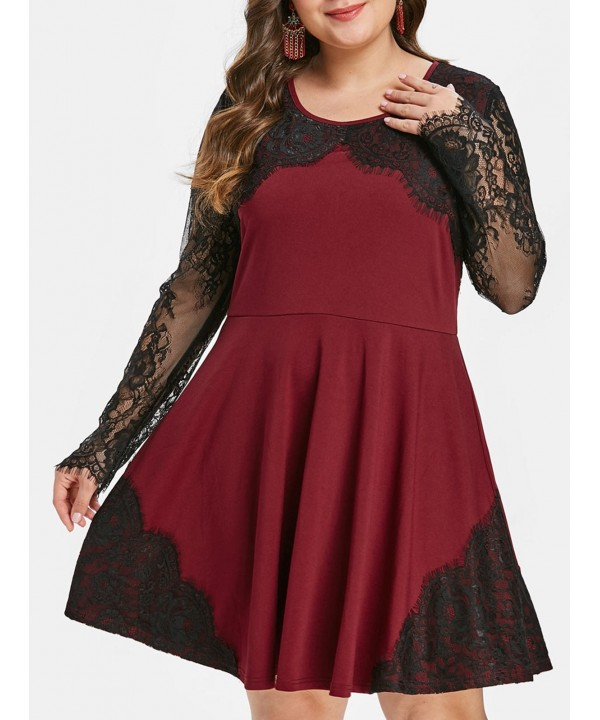 Plus Size Vintage Lace Insert Flare Dress