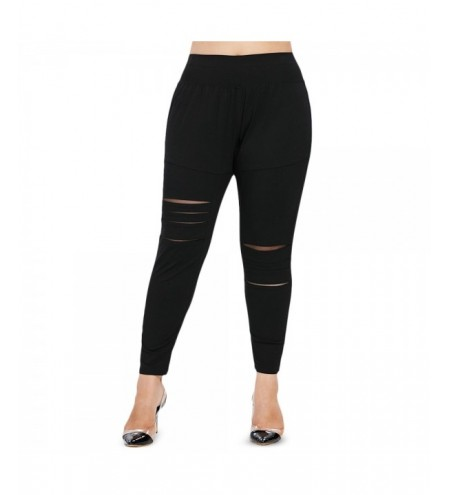 Plus Size Ripped Elastic Waist Leggings