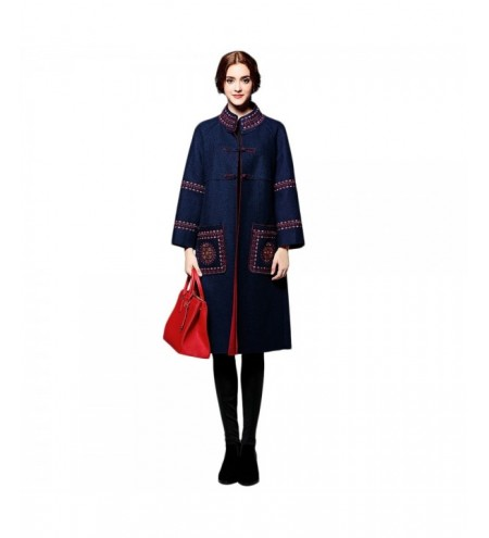 Embroidered Wool Long Coat