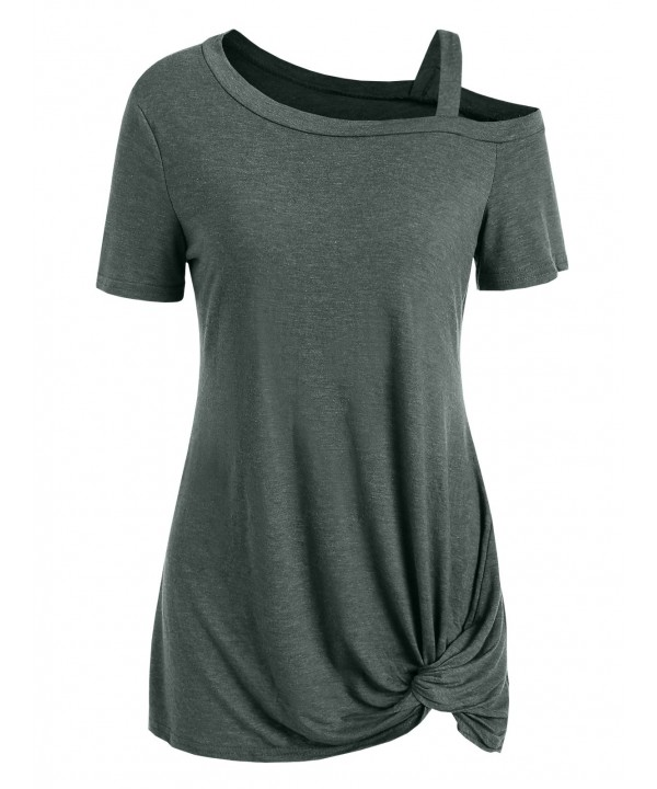 Short Sleeve Skew Neck Knotted Tee