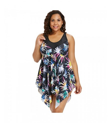 Leaf Print Plus Size Asymmetric Tankini Set