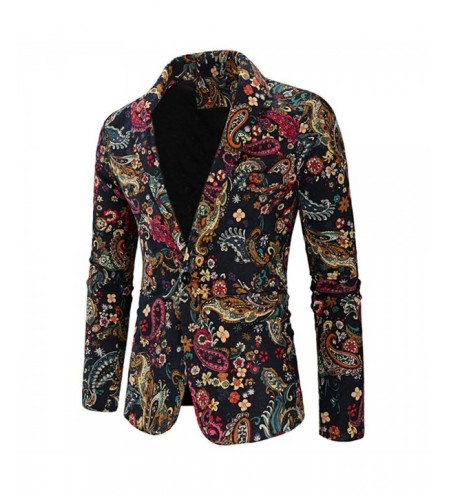 One Button Paisley Print Shawl Collar Blazer