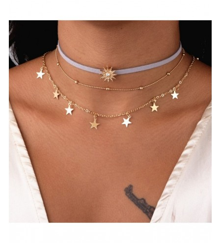 3PCS Gold Color Crystal for Women Tassel Pendant Chain Necklaces