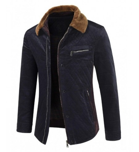 Turn Down Collar Contrast Zipper Casual Padded Coat