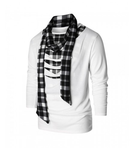 Scarf Collar Checked Print Destroyed T-shirt