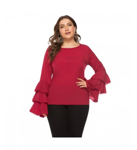 Round Collar Long Bell Sleeve Layered Flounce Solid Color Plus Size Women Blouse