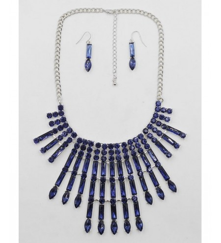 Rhinestone Statement Necklace Drop Earrings Set
