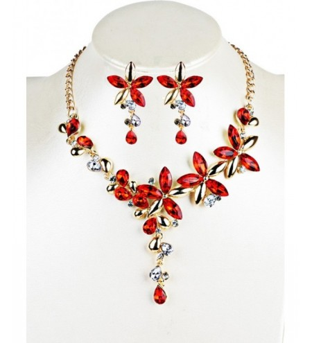 Vintage Crystal Floral Embellished Alloy Pendent Necklace Earrings Set