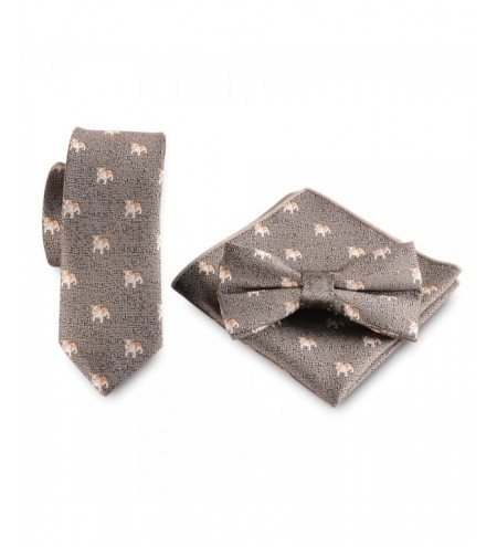 Party Puppy Printed Necktie Handkerchief Bow Tie Cravat Set