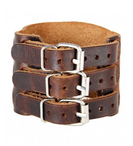 Europe and The United States Trendy Men'S Wide Bangle Bracelet Exaggerated Wide Leather Double