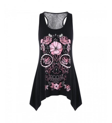 Flowered Skull Printed Lace Back Tank Top