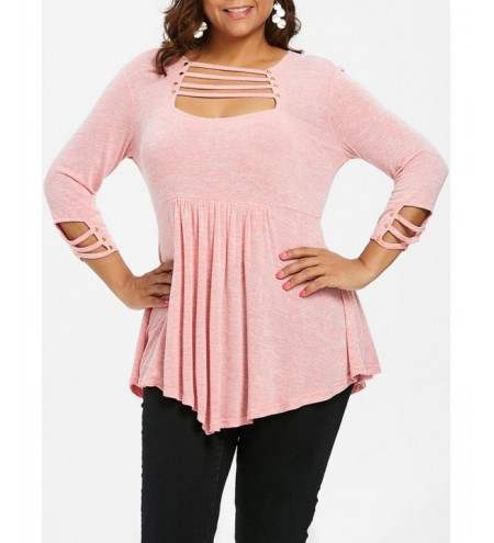 Plus Size Ladder Cut Out A Line T-shirt