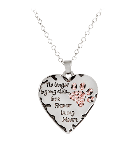 Heart Engraved Claw Footprint Forever Necklace