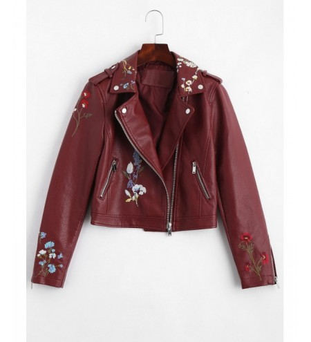 Zippered Floral Patched Faux Leather Jacket