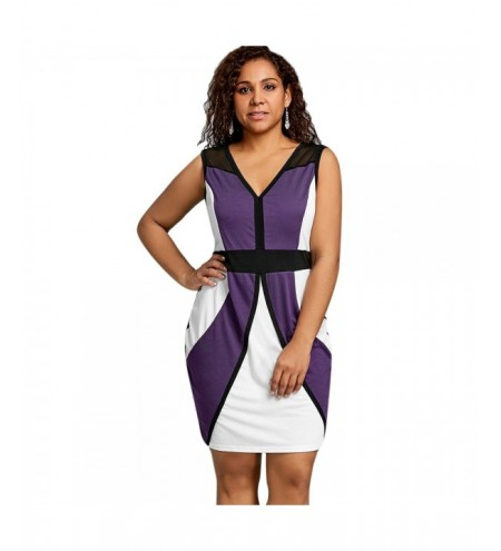 Plus Size Sleeveless Color Block Dress