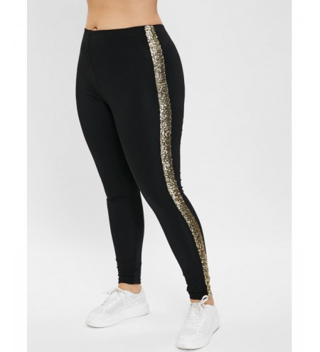 Plus Size High Waisted Sequined Leggings