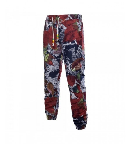 Men's Spring and Summer Thin Sizes of Folk Wind Linen Print Trousers