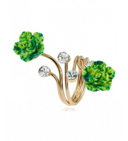 Rhinestone Alloy Flower Full Finger Ring