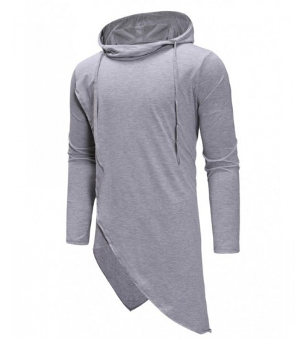 Irregular Solid Color Drawstring Hooded Shirt