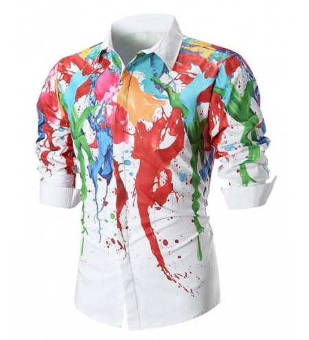 3D Colorful Paint Splatter Slim Fit Shirt