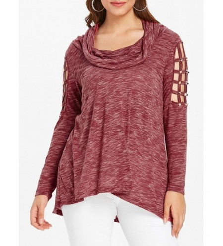 Plus Size High Low Cowl Neck T-shirt