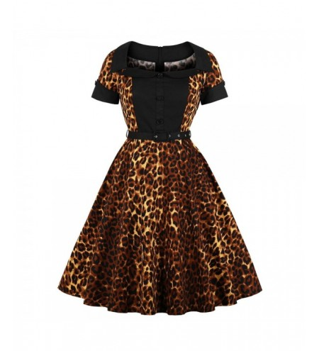 Collar with Short Sleeves Buttons Leopard Grain with A Belt Dress