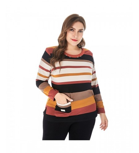 Large Size Colorful Stripes Jewel Neck Shoulder Pad Long Sleeves Women T-shirt
