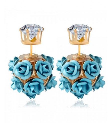 3D Rose Rhinestone Embellishment Hollow Stud Earrings for Women
