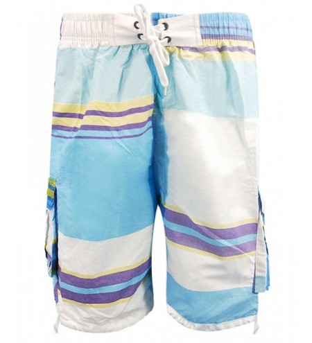 Striped Criss Cross Elastic Waist Board Shorts
