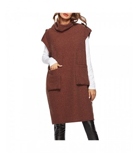 Casual Loose Pocket Medium Long Sweater Pinafore Dress