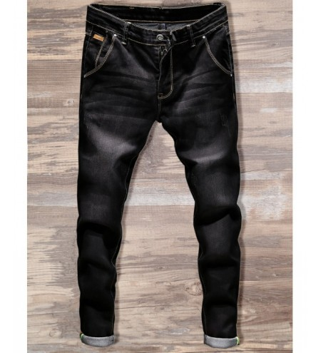 Slim Fit Zipper Fly Straight Jeans