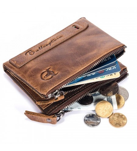 BULLCAPTAIN Genuine Leather Bifold Wallet for Men