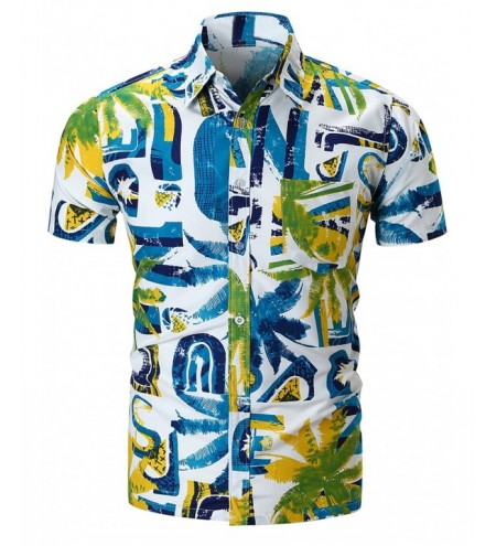 Watercolor Coconut Palm Print Button Up Shirt