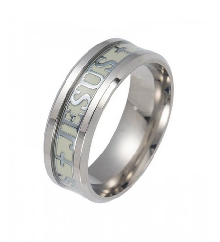 Jesus Glowing Luminous Ring JESUS Alphabet Male Titanium Steel Ring