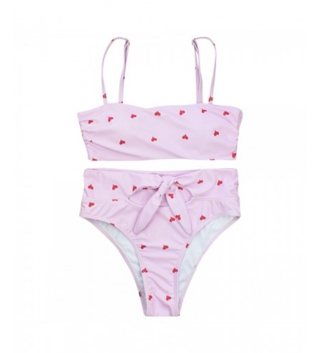 Spaghetti Strap Heart Print Padded High Waist Women Bikini Set