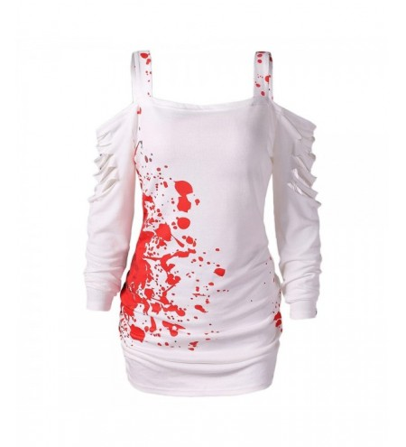 Halloween Cold Shoulder Blood Splatter T-Shirt
