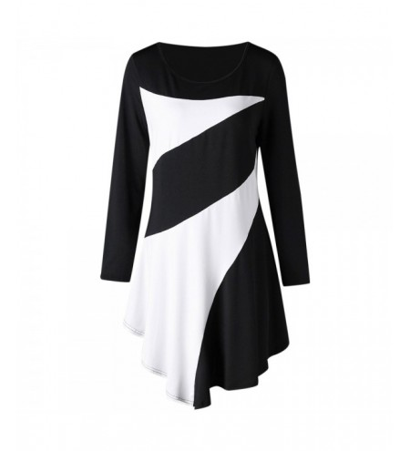 Plus Size Two Tone Asymmetric Tunic Tee
