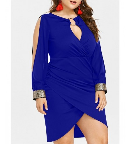Keyhole Neck Plus Size Slit Bodycon Dress