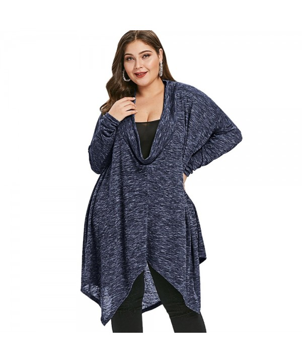 Plus Size Marled Cowl Neck Asymmetrical Top