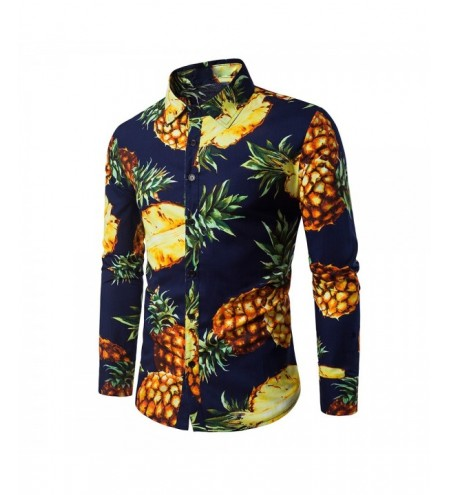 Turndown Collar 3D Pineapple Print Shirt
