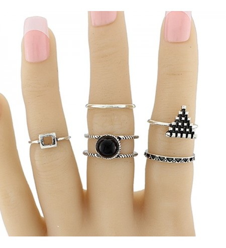 Alloy Circle Geometric Jewelry Ring Set