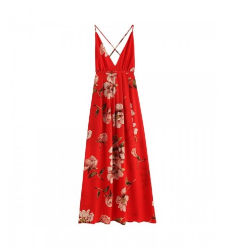 Criss Cross Slit Floral Women Maxi Dress