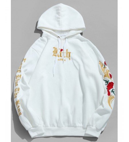 Fleece Letter Flower Embroidery Hoodie