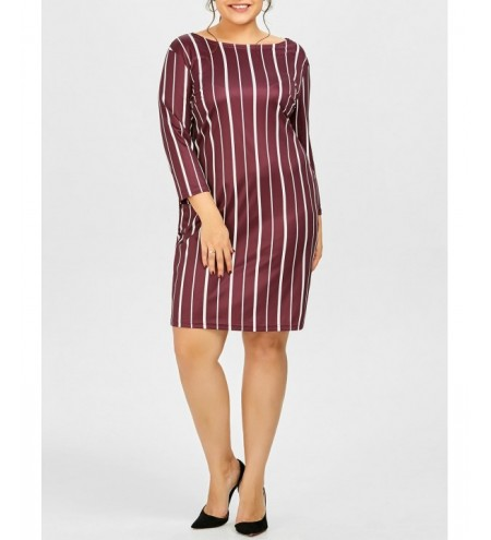 Round Neck Plus Size Striped Dress