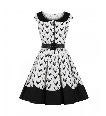 Round Collar Cap Sleeve Deer Print Belted A-line Women Vintage Dress
