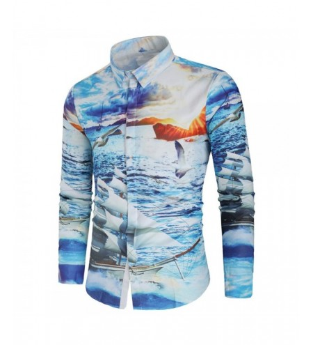 Ship and Sea Gull Print Hidden Button Shirt