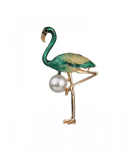Fashion Creative Red Green Flamingo Brooch